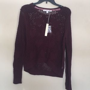 Lauren Conrad maroon knitter sweater with heart XL